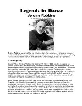 Legends in Dance -Jerome Robbins
