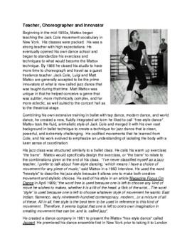 Legends in Dance -Matt Mattox - UPDATED