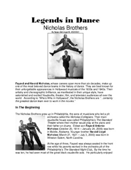 Legends in Dance -Nicholas Brothers - UPDATED