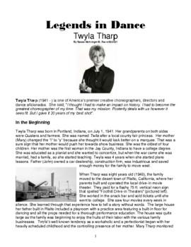 Legends in Dance -Twyla Tharp NEW