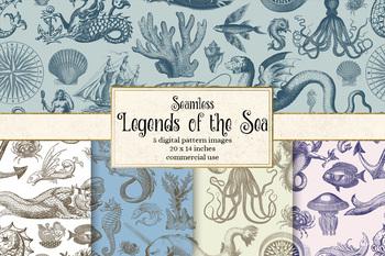 Legends of the Sea seamless pattern digital paper