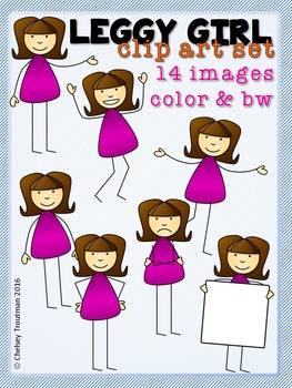 Leggy Girl Clip Art Set