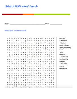 Legislation Word Search