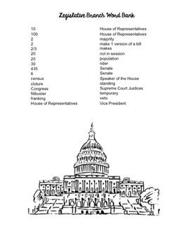 Legislative Branch- Congress Worksheet