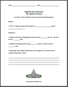 Legislative Branch Constitution Exploration Worksheet and PowerPoint