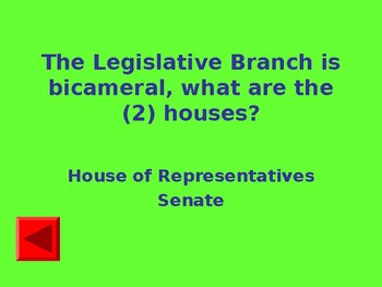 Legislative Branch Interactive Powerpoint Game