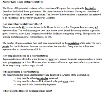 Legislative Branch Intro Lesson Plan House Senate Notes Fact