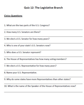 Legislative Branch (Lesson Plan, PowerPoint, Activity, and Quiz)