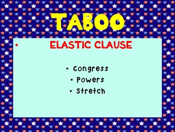 Legislative Branch PowerPoint Game with TABOO - Government, U.S. History, Civics
