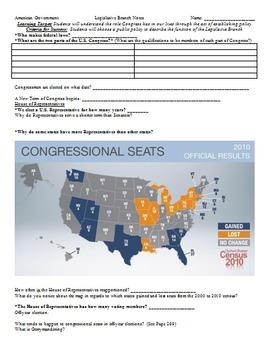 legislative branch congress powerpoint with cloze note handouts. Black Bedroom Furniture Sets. Home Design Ideas