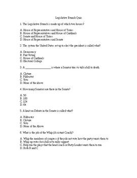 Legislative Branch Quiz