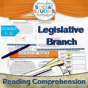 Legislative Branch Reading Passage (Comprehension Questions & IEP Data Tracking)