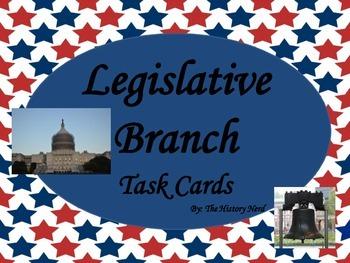 Legislative Branch Task Cards - 8th Grade