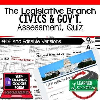 Legislative Branch Test, Legislative Branch Quiz, Civics Assessment