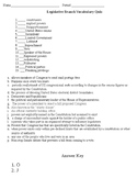 Legislative Branch Vocabulary Quiz