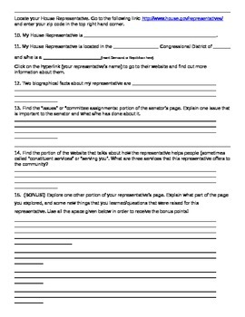 Legislative Branch - Who Represents Me? Webquest / Guided Research Worksheet