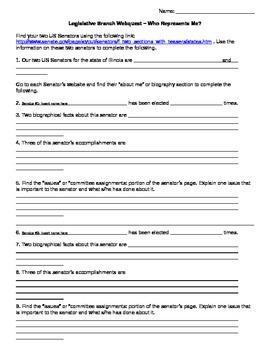 Legislative Branch - Who Represents Me? Webquest / Guided