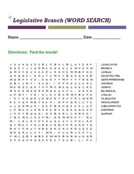 Legislative Branch Word Search