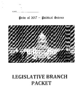 Legislative Branch Work Packet/Activities Bundle