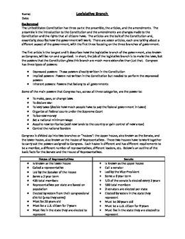legislative branch worksheet teaching resources teachers pay teachers rh teacherspayteachers com