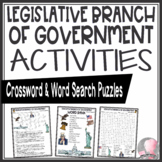 Legislative Branch of Government Crossword Puzzle & Word Search Find Activities
