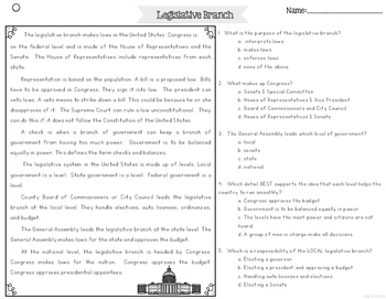 Legislative Branch of Government {Differentiated Reading Passages & Questions}