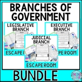 Legislative Branch, Executive Branch and Judicial Branch Escape Rooms BUNDLE!
