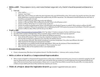 Legislative Project Based Learning Project (5-7 days)