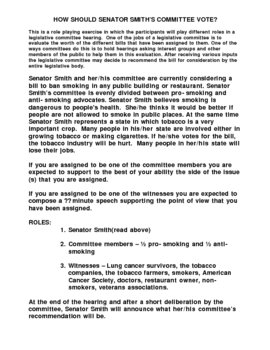 Legislative Role Playing Exercise