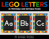 Lego Alphabet - Printable PDF - Uppercase and Lowercase Lettering