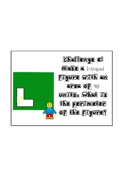 Lego Area and Perimeter Challenge Task Cards ~ FREE