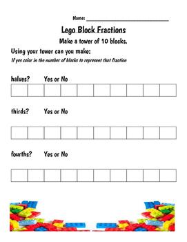 Lego Block Fraction Worksheet