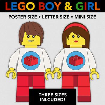 Lego Boy and Lego Girl - Poster Size + 2 Other Sizes - Lego Classroom Decoration
