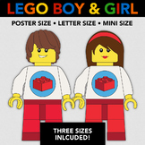Lego Boy and Lego Girl - Poster Size + 2 Other Sizes - Leg