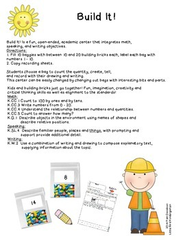 Build It! Math & Writing Center FREEBIE!