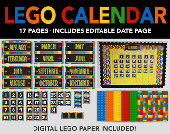 Lego Bulletin Board Calendar and Lego Digital Paper - Printable - Editable Page