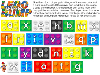 Lego Bump - Lego themed Dolch Sight Word Reading Board Game