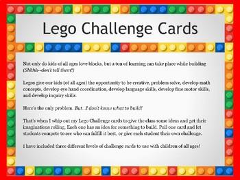 Lego Challenge Cards By Shore Points Teacher Teachers