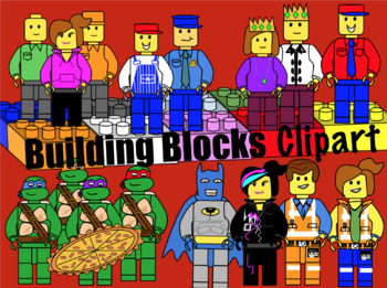 (Lego like building blocks and characters) Clipart
