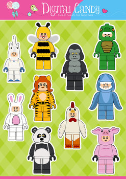 Lego Clipart - Lego Animal Suit Characters - Animal Clipart - Lego Minifigures