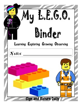 Lego Inspired BINDER COVER