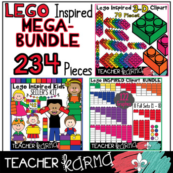 Lego Inspired Clipart 220 Piece MATH MEGA BUNDLE - $$ Save 50% $$