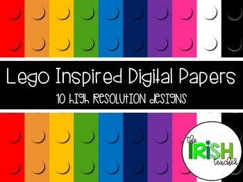 Lego Inspired Digital Paper Background Set