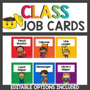Building Brick Themed Student Job Cards