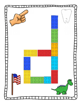 Plastic building block letter activity pages - French version