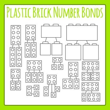 Lego Like Plastic Brick Number Bonds Clip Art for Commercial Use