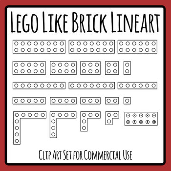 lego like plastic brick templates clip art from above line art black
