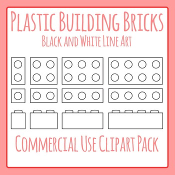 Lego Like Plastic Bricks Line Art (Similar to Lego or Lego Like) Clip Art Pack