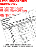 Lego Mindstorms EV3 Inventory Sheets
