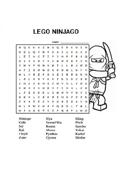 Exceptional Lego Ninjago Word Search